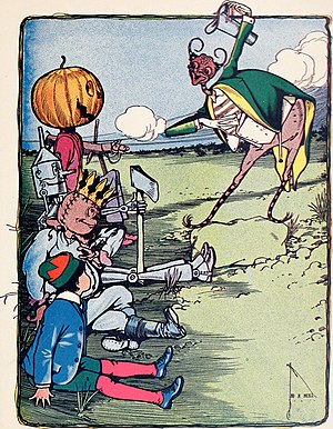 The Marvelous Land of Oz - Jack Pumpkinhead, Tin Woodman, Scarecrow, and Tip meet the Woggle-Bug