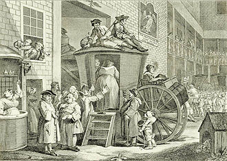 The Angel, Islington - William Hogarth's portrait The Stage Coach is believed to be based in the grounds of the Angel, Islington.