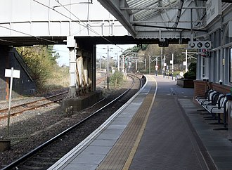 Berwick-upon-Tweed railway station - A view of the island platforms looking north