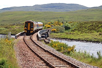 Single-track railway - A Class 158 DMU on the Kyle of Lochalsh Line, a primarily single-track railway in Scotland