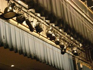 Stage lighting - Many stage lights hang on a batten focused in several directions