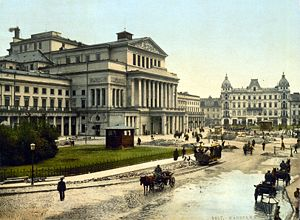 Grand Theatre, Warsaw - Theatre Square in Warsaw between 1890 and 1905