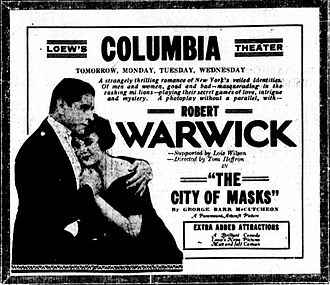 The City of Masks - A newspaper advertisement.