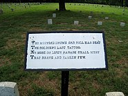 Theodore O'Hara Bivouac of the Dead Panel 1 at Fredericksburg National Cemetery