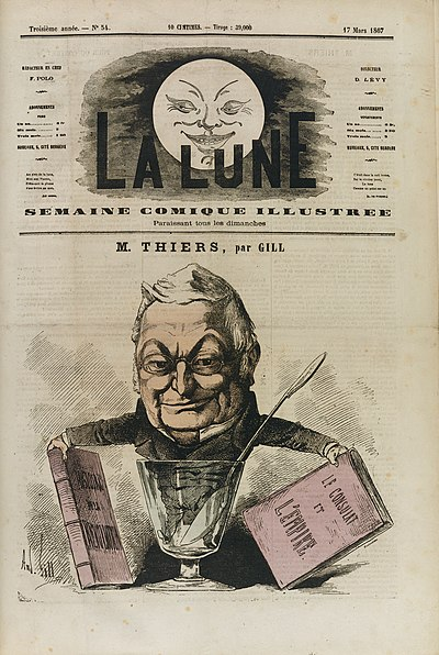 A caricature of Thiers with his history of the Consulate, by Andre Gill (1867) Thiers historien (par Andre Gill).jpg