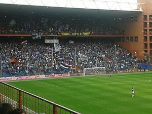 U.C. Sampdoria - Sampdoria fans in the Gradinata Sud of the Stadio Luigi Ferraris