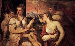 Venus Blindfolding Cupid - Image: Titian Venus Blindfolding Cupid WGA22908
