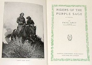 "Riders of the Purple Sage - Title page and frontispiece of the first edition. Caption: ""Don't look back!"""