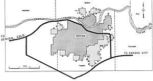 Interstate 470 (Kansas) - 1955 map showing planned Interstate highways through Topeka