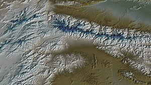 Tora Bora - Aerial view, 3D computer generated image. Tora Bora is in the upper-right quadrant.