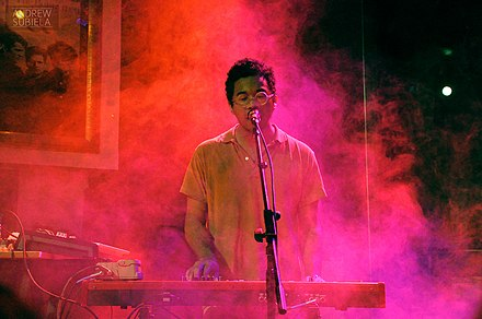 "Chaz Bundick (Toro y Moi, pictured in 2012) felt that chillwave ""did its thing, and once it became a thing, people stopped caring about it, even the artists [making it]."" Toro y Moi at Hard Rock Cafe.jpg"