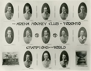 "1918 Stanley Cup Finals - 1917–18 season Toronto Arenas. Top row, from left: Rusty Crawford, Harry Meeking, Ken Randall, Corbett Denneny, Harry Cameron. Middle row, from left: Dick Carroll, Jack Adams, Charles Querrie, Alf Skinner, Frank Carroll. Bottom row, from left: Harry Mummery, Harry ""Hap"" Holmes, Reg Noble."