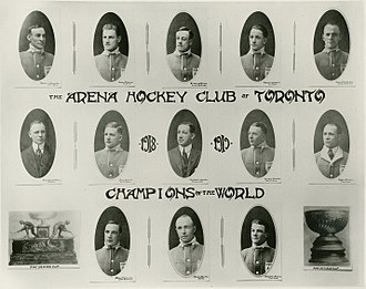 Toronto Maple Leafs - Team photo of the Arenas from the 1917–18 season. The club won its first Stanley Cup in their inaugural season.