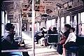 Train interior on road to Takao, Chūō Main Line (1960-11-19 by Charles Dunn).jpg