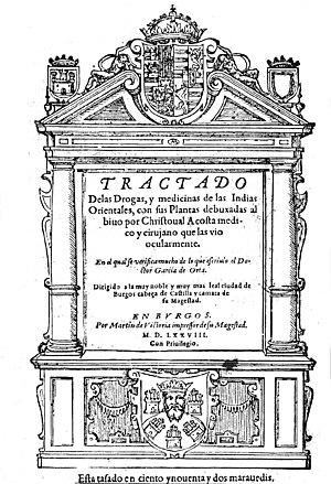 Cristóbal Acosta - Title page from 1578 Spanish edition of Tractado de las drogas y medicinas de las Indias Orientales, by Cristóvão da Costa.