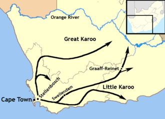 Trekboer - A map of the expansion of the Trekboers out of the Cape Colony between 1700 and 1800