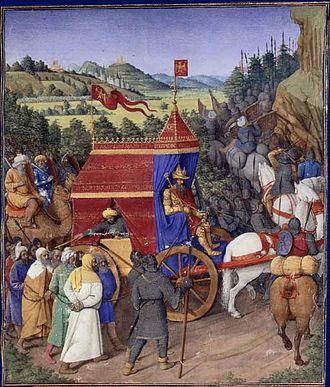 Jehoshaphat - Triumph of Jehosaphat over Adad of Syria as illustrated by Jean Fouquet (1470s) for Josephus' Antiquities of the Jews.