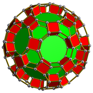 Spherinder - The related truncated icosidodecahedral prism is constructed from two truncated icosidodecahedra connected by prisms, shown here in stereographic projection with some prisms hidden.