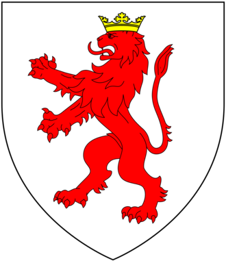 James Turberville - Arms of Turberville: Argent, a lion rampant gules crowned or