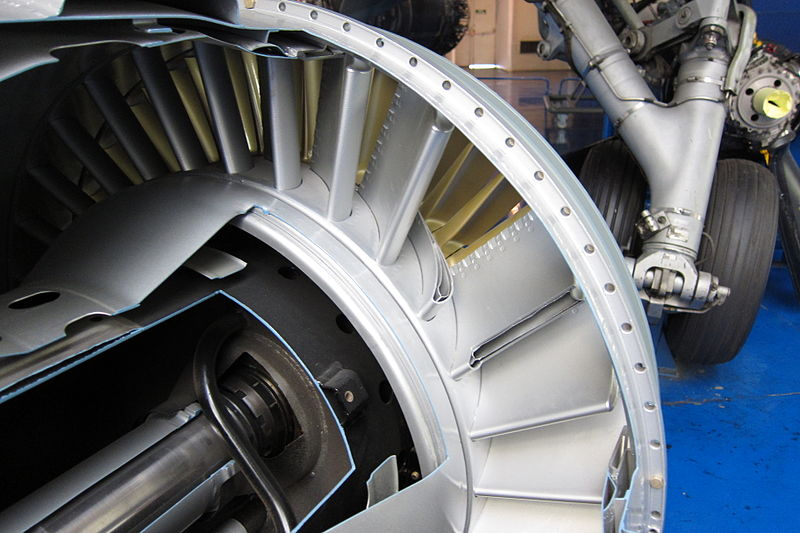 File:Turbine inlet guide vanes of Atar turbojet.jpg