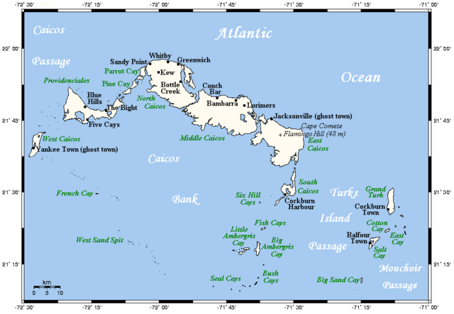 A map showing the Turks and Caicos Islands' main towns and islands. Image by Kelisi via Wikipedia.