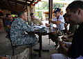 U.S. Army Gen. P.K. Keen, commanding general of Joint Task Force Haiti, talks with actor Sean Penn March 15, 2010, in Port-au-Prince, Haiti 100315-N-HX866-009.jpg