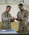 U.S. Marine Corps Lt. Col. Corey Collier, the commanding officer of the 1st Battalion, 9th Marine Regiment, passes a piece of the birthday cake to the youngest Marine in the battalion during a cake-cutting 131111-M-WA264-007.jpg