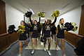 U.S. Military Academy cheerleaders lead a pep rally Dec. 13, 2013, at the Pentagon in Arlington, Va., in preparation for the annual Army-Navy football game 131213-D-EV637-056.jpg