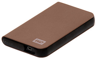 Disk enclosure - An external hard drive enclosure that uses a 2.5-in drive and a USB connection for power and transfer