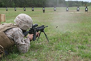 M27 Infantry Automatic Rifle - A U.S. Marine practices firing an M27 IAR on fully automatic fire in April 2012.