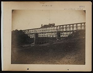 United States Military Railroad - Military railroad bridge across Potomac Creek, on the Fredericksburg Railroad