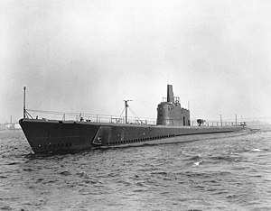 USS Amberjack (SS-219) - USS Amberjack in the Thames River, off Groton, Connecticut, 30 May 1942.