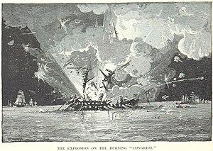 USS Congress (1841) - Congresss magazine explodes