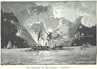 USS Congress (1841) - Image: USS Congress explodes
