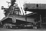 USS Franklin D. Roosevelt (CVA-42) receiving new elevator c1969.jpg