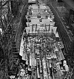USS Illinois in July 1945, just weeks before construction was canceled