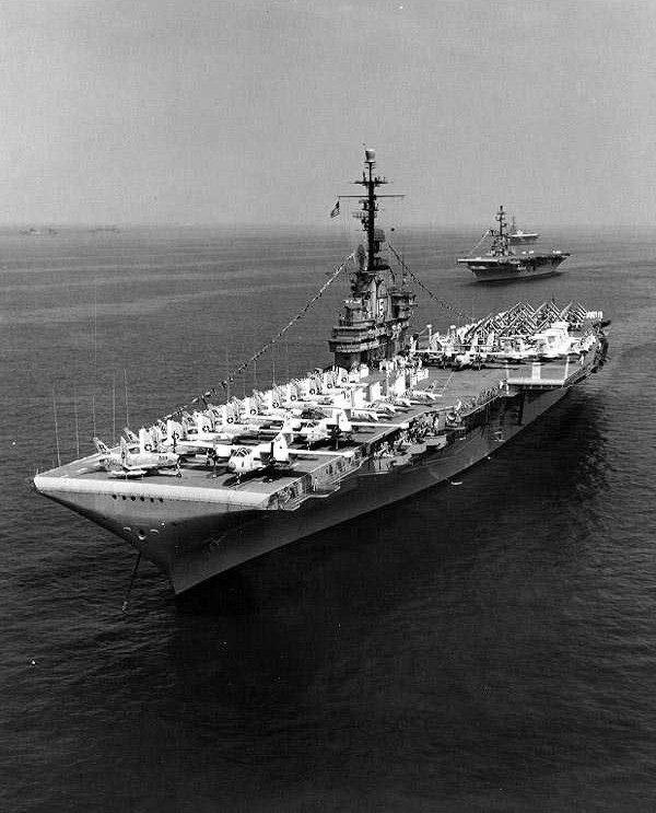 USS Randolph (CVA-15) during the International Naval Review in Hampton Roads, 12 Jun 1957 (NH 97490)