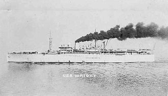 USS Wright (AV-1) - USS Wright (AZ-1) port broadside view, date and place unknown.