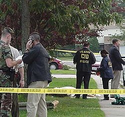 U.S. Army CID special agents at a crime scene