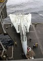 US Navy 030413-N-0295M-004 Hanger Deck Crew move a F-14D Tomcat onto one of four aircraft elevators aboard USS Constellation (CV 64).jpg