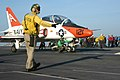 US Navy 040917-N-0246T-070 Lt. Cmdr. Kevin Delano of Sanger, Calif., taxis a T-45A Goshawk assigned to Training Air Wing One (TW-1) to one of the four steam powered catapults.jpg