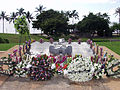 US Navy 050209-N-0879R-001 Flowers adorn the Ehime Maru Memorial in Honolulu, Hawaii, on the fourth anniversary of the collision between the Los Angeles-class attack submarine USS Greeneville (SSN 772).jpg
