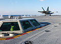 US Navy 051027-N-9641C-007 An F-A-18C Hornet launches from the Nimitz-class aircraft carrier USS Dwight D. Eisenhower (CVN 69) during Flight Deck Certification.jpg