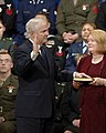 US Navy 061218-D-2987S-020 Becky Gates holds the bible as Vice President Dick Cheney swears in Dr. Robert M. Gates as the 22nd Secretary of Defense.jpg