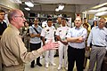 US Navy 070627-N-0194K-078 Commanding Officer, Medical Treatment Facility, Capt. Bruce Boynton speaks with Secretary of the Navy (SEVNAV) The Honorable Donald C. Winter and other distinguished guests aboard Military Sealift Com.jpg