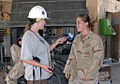 US Navy 070907-N-3768T-002 Constructionman Annetta Lowery, attached to Naval Mobile Construction Battalion (NMCB) 40, gives an interview to Michelle Durham of Philadelphia CBS Radio affiliate KYW.jpg