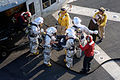 US Navy 070918-N-4774B-159 The crash and salvage team aboard amphibious assault ship USS Tarawa (LHA 1) trains for handling an emergency helicopter landing and rescue of wounded personnel.jpg