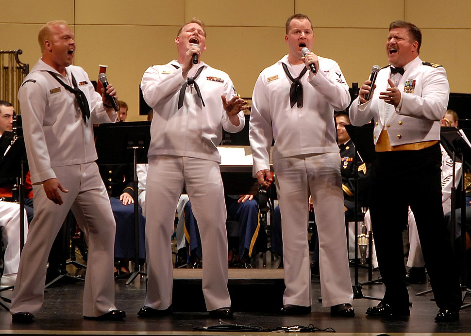 US Navy 080615-N-7656R-003 Navy Band Northwest%27s Barbershop Quartet win the hearts of the audience with a John Philip Sousa rendition of
