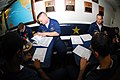 US Navy 081001-N-3483C-002 Sailors aboard the guided-missile destroyer USS Mustin (DDG 89) register to vote for the November presidential election.jpg