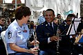 US Navy 090626-N-9318F-168 Master Sgt. Dawn Striker-Allan, assigned to Air Forces Southern Band, plays in an integrated performance with members of an El Salvadoran military band during a Continuing Promise 2009 medical communi.jpg